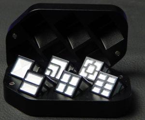 Custom dice box - machined and color anodized aluminium, large black box full of dice