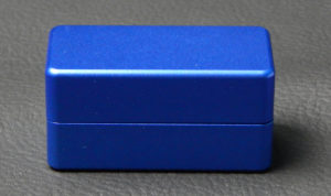 Custom dice box - machined and color anodized aluminium, small blue box closed