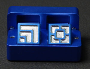 Custom dice box - machined and color anodized aluminium, small blue box full of dice