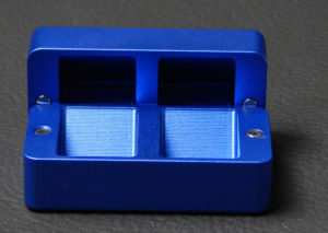 Custom dice box - machined and color anodized aluminium, small blue box open