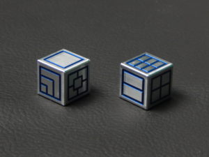 Custom Dice - blue color anodized aluminium dice iXLP v2.0 reverse