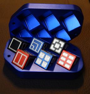 Custom dice box - machined and color anodized aluminium, large blue box full of dice