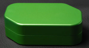 Custom dice box - machined and color anodized aluminium, large green box closed