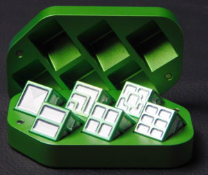 Custom dice box - machined and color anodized aluminium, large green box full of dice