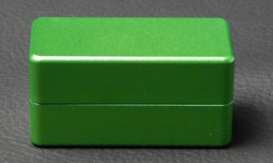Custom dice box - machined and color anodized aluminium, small green box closed