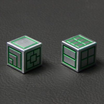 Custom Dice - green color anodized aluminium dice iXLP v2.0 reverse