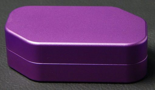 Custom dice box - machined and color anodized aluminium, large purple box closed