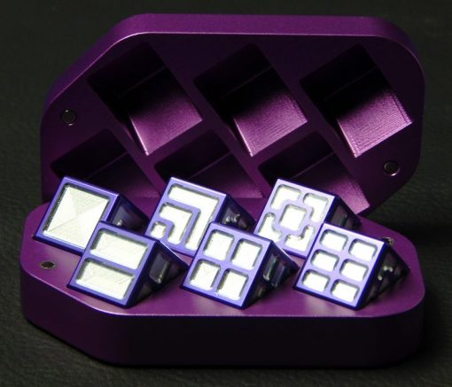 Custom dice box - machined and color anodized aluminium, large purple box full of dice