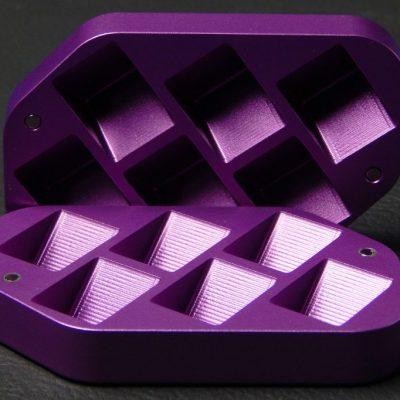 Custom dice box - machined and color anodized aluminium, large purple box open