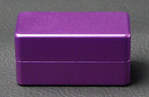 Custom dice box - machined and color anodized aluminium, small purple box closed