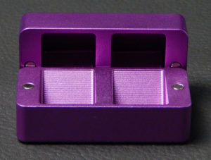 Custom dice box - machined and color anodized aluminium, small purple box open