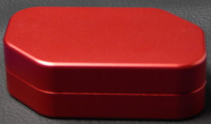 Custom dice box - machined and color anodized aluminium, large red box closed