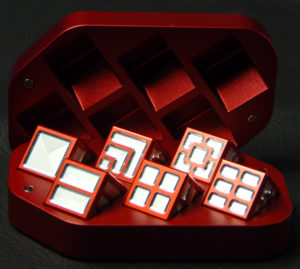 Custom dice box - machined and color anodized aluminium, large red box full of dice