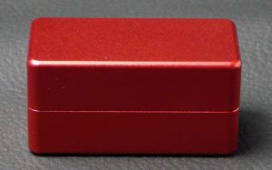Custom dice box - machined and color anodized aluminium, small red box closed