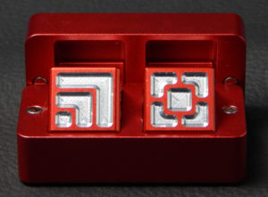 Custom dice box - machined and color anodized aluminium, small red box full of dice