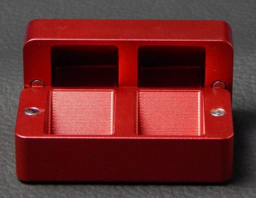 Custom dice box - machined and color anodized aluminium, small red box open