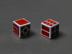 Custom Dice - red color anodized aluminium dice XLP v2.0 reverse