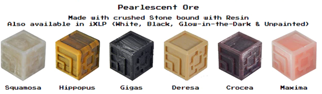 Custom stone and resin dice XLP or iXLP v1.0 Random Pearlescent Ore