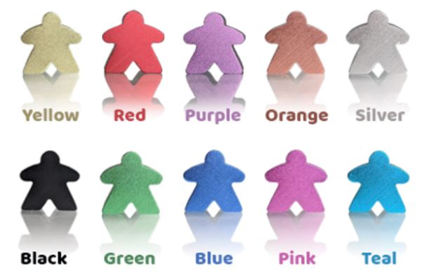 custom metal meeples in a variety of colors